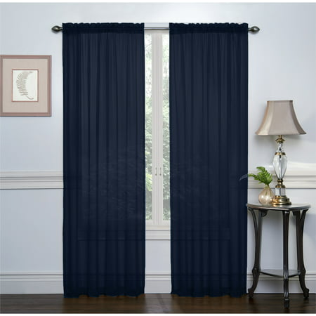 2 Pack: Regal Home Collections Basic Rod Pocket Sheer Voile Curtains - Navy