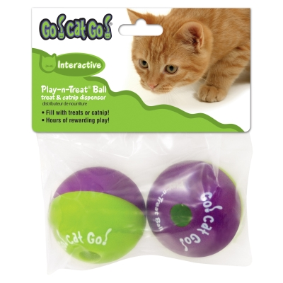 Our Pet's Go! Cat! Go! 1080010279 Recyclable Plastic Play-N-Treat Cat Ball