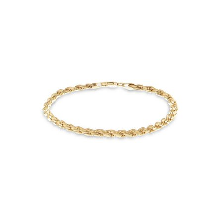 - Gold over Sterling Silver Diamond Cut Rope Chain Bracelet 7.5 inches