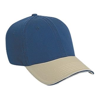 OTTO Garment Washed Cotton Twill Sandwich Visor 6 Panel Low Profile Dad Hat - (Cotton Washed Twill Sandwich)