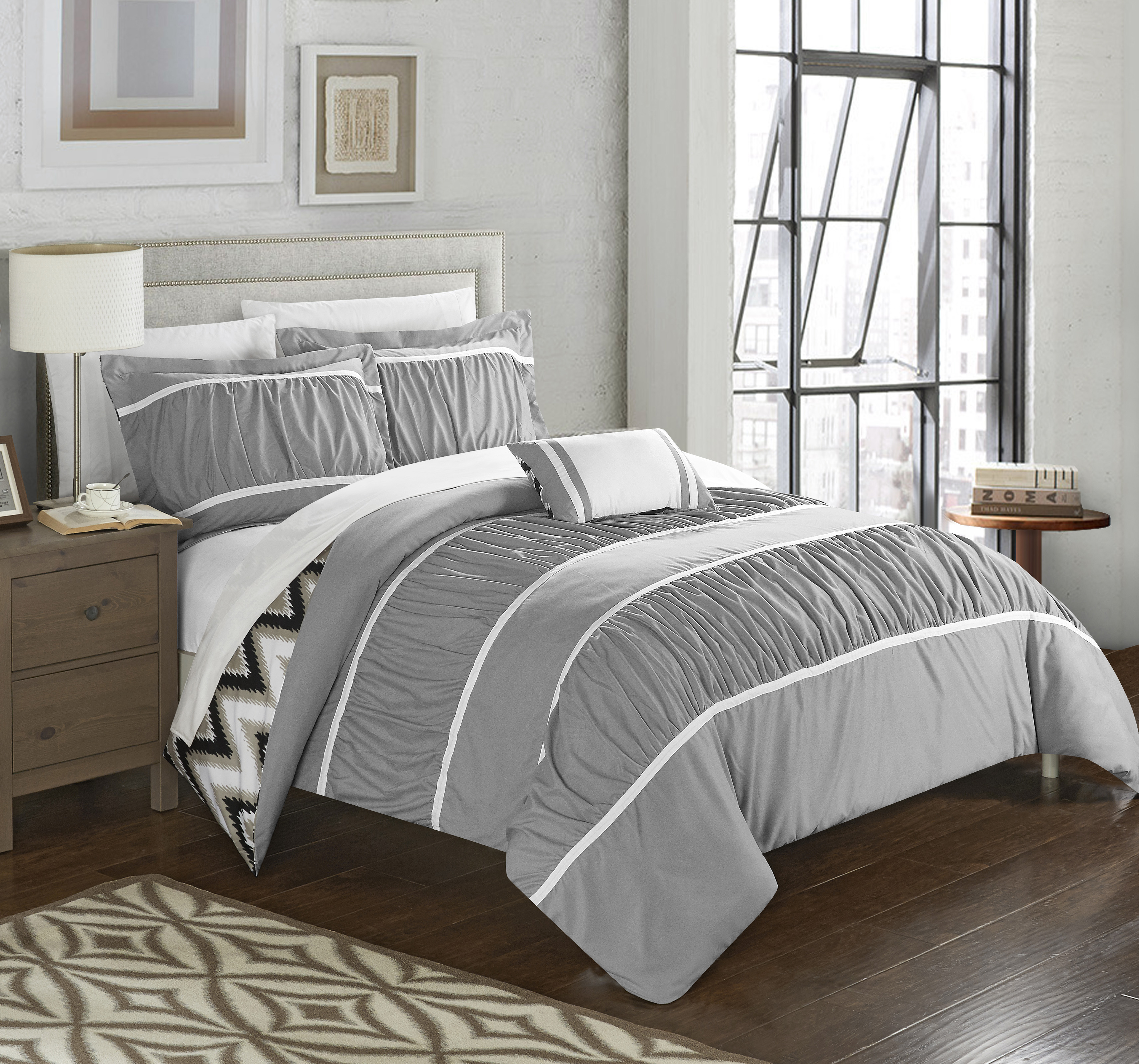 Chic Home 4-Piece Brooks Pleated & Ruffled with Chevron REVERSIBLE Backing Comforter Set with Shams and Decorative Pillows Included
