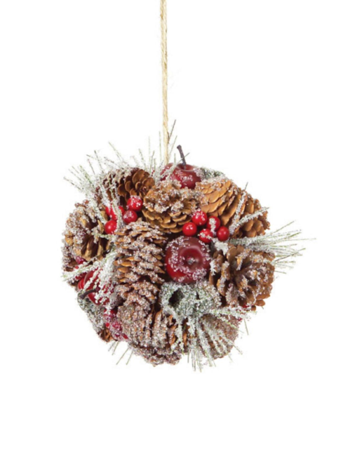 """6"""" Eco Country Iced Pine Cone Apple Berry Christmas Ornament"""