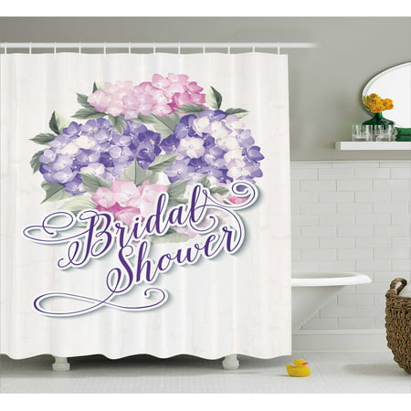 Bridal Shower Shower Curtain, Shabby Chic Hydrangeas Romantic Bride Flowers Image Art Print, Fabric Bathroom Set with Hooks, 69W X 75L Inches Long, Purple and Pale Pink, by - Fabric Hydrangea