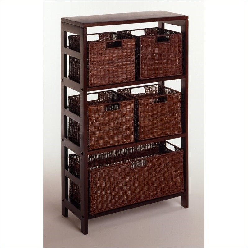 Leo 6pc Shelf and Baskets; Shelf, 4 Small and 1 Large Baskets; 3 cartons