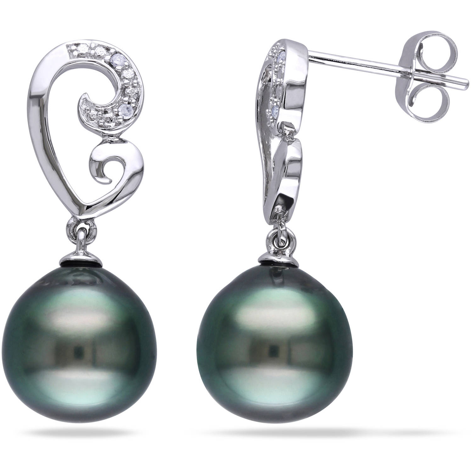 9-9.5mm Black Drop Tahitian Pearl and Diamond-Accent 10kt White Gold Dangle Earrings