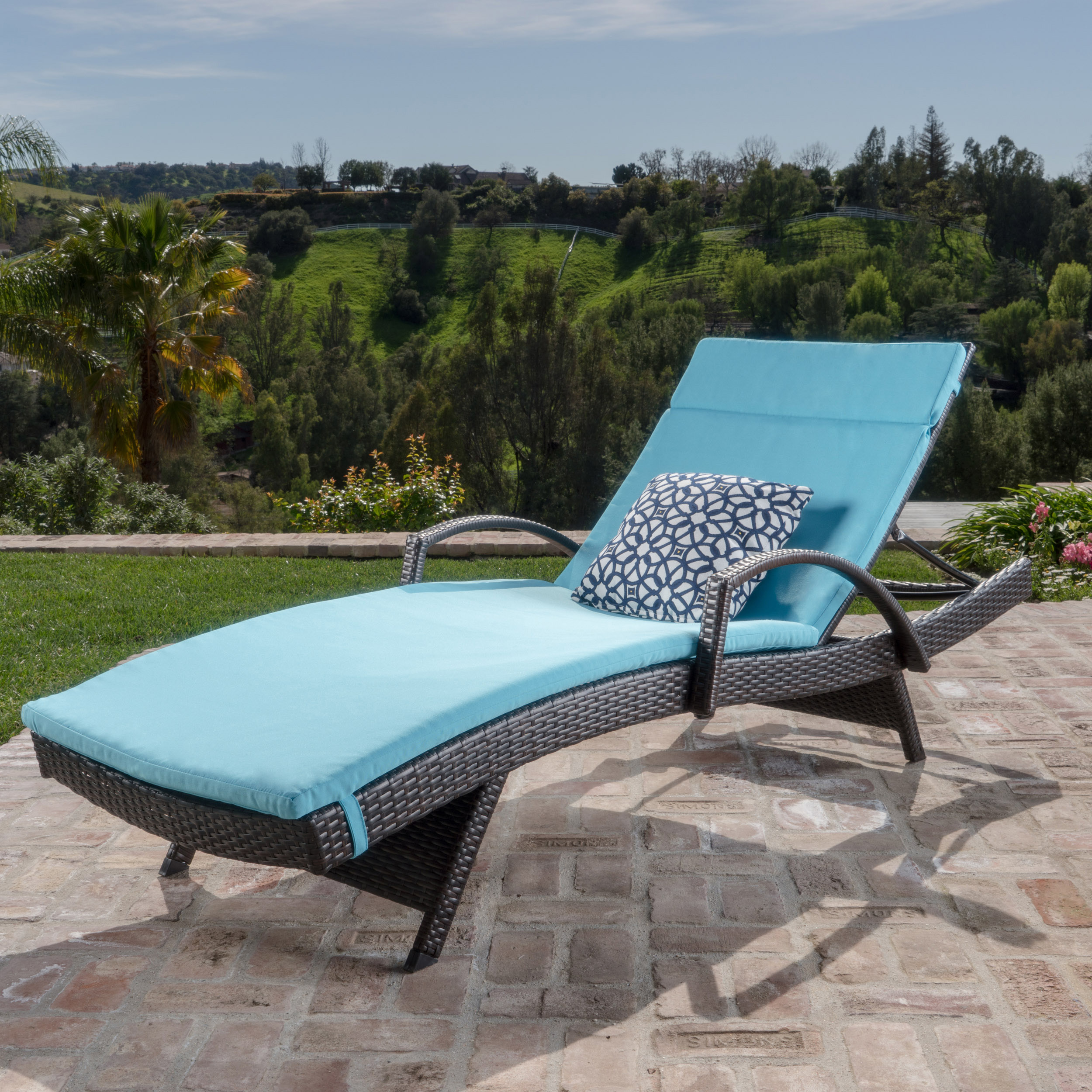 Brookside Outdoor Wicker Adjustable Chaise Lounge with Arms with Blue Cushion
