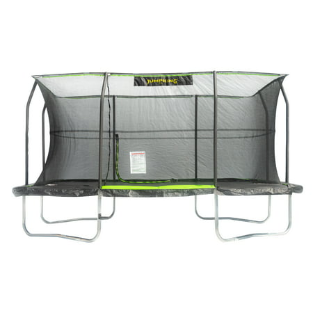 Premier Rectangular Trampoline - JumpKing Rectangular 10 x 15 Trampoline, with Foot Step, Lime Green/Black