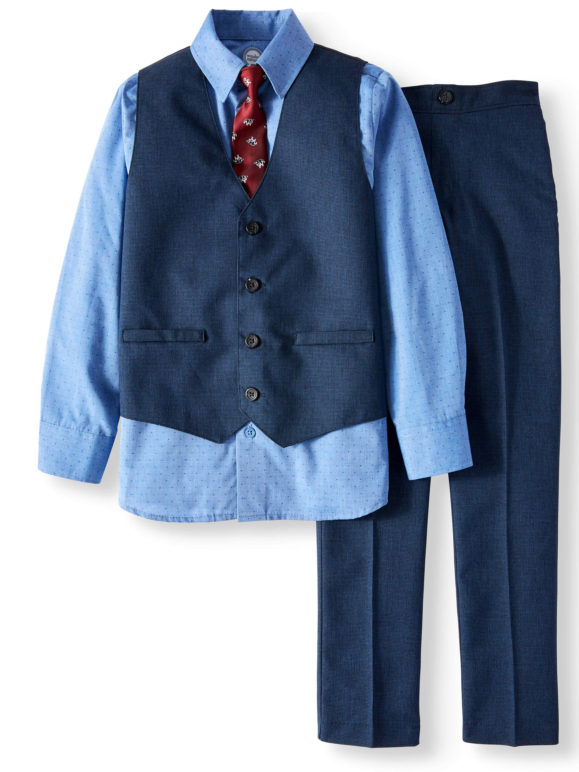 372fcd9f Blue Mini Check Dressy Vest with Dress Shirt, Matching Pants & Dog Print  Tie Outfit