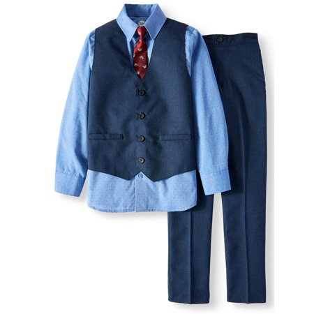 Wonder Nation Blue Mini Check Dressy Vest with Dress Shirt, Matching Pants & Dog Print Tie, 4- Piece Outfit Set (Little Boys & Big Boys)