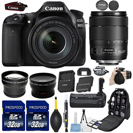 Canon EOS 80D DSLR Camera with EF-S 18-135mm f/3.5-5.6 Image Stabilization USM Lens + 58mm Wide Angle + 2.2x Telephoto Lens + 2Pcs 32GB Commander Memory Card + Battery Grip + Extra Battery + Backpack