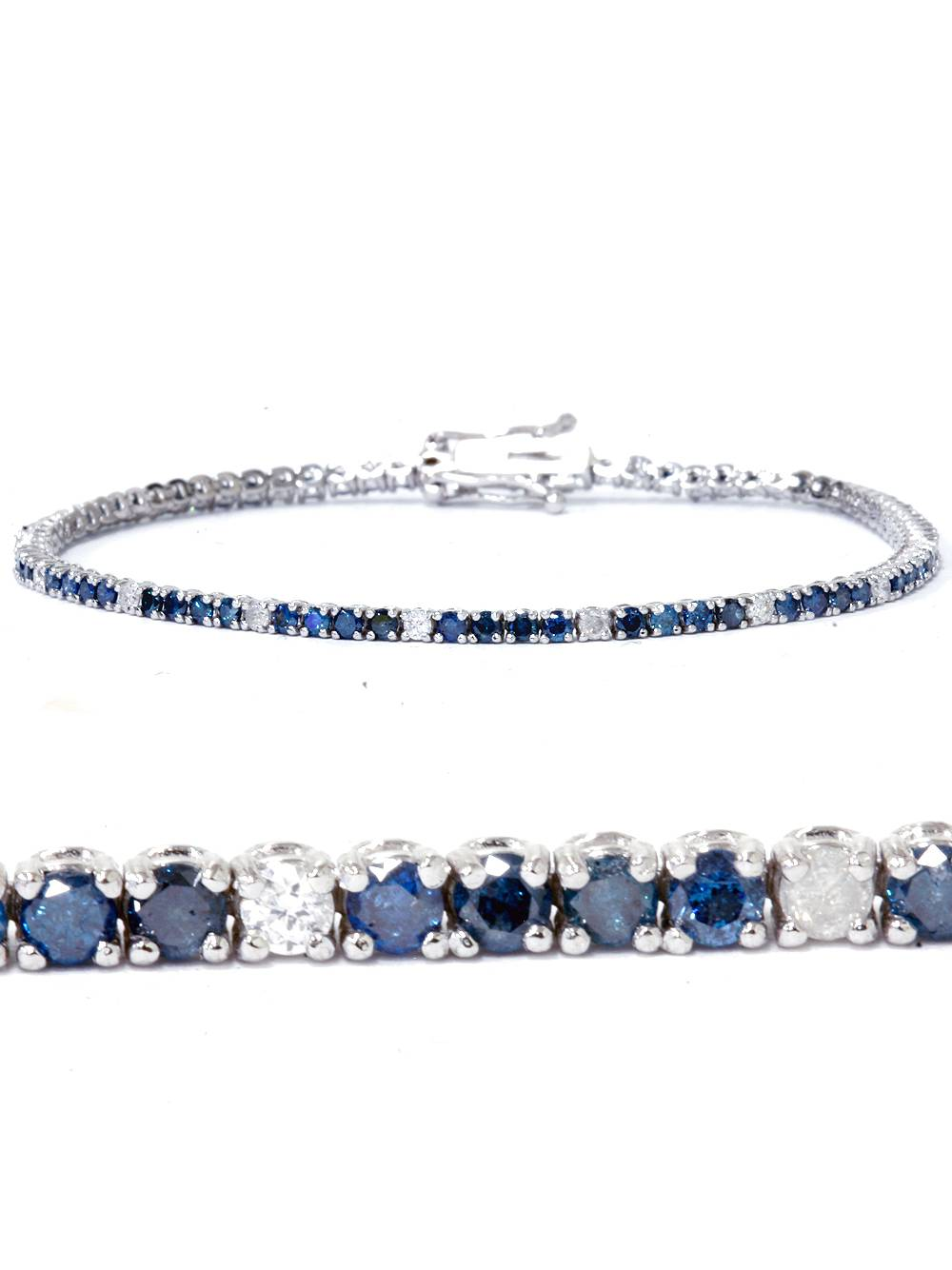 2ct Treated Blue & White Diamond Tennis Bracelet 14K White Gold