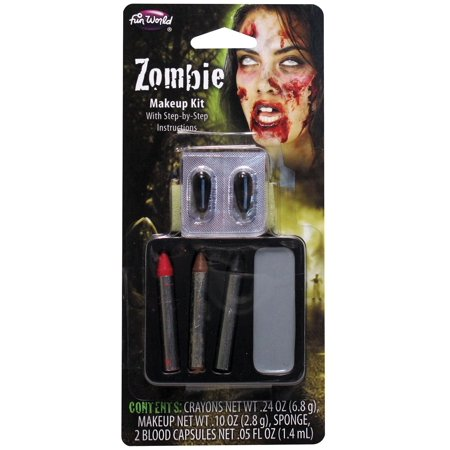 Fun World Undead Zombie 7pc Makeup Kit, Grey Red Black](Zombie Makeup Halloween Tutorial)