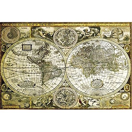 Historical World Map Antique Globes 1626 36x24 Art Print Poster Vintage Style