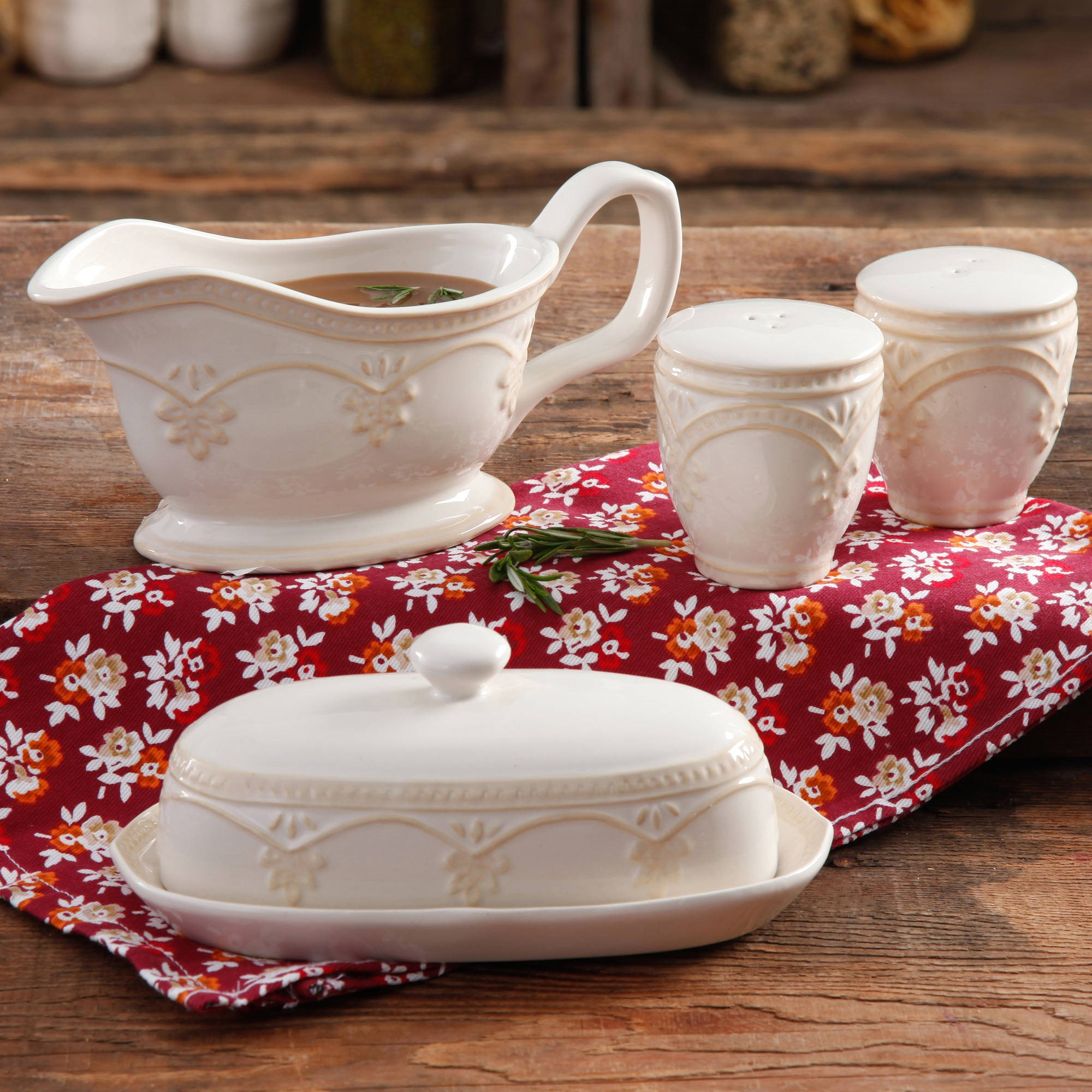 The Pioneer Woman Farmhouse Lace Butter Dish With Gravy Boat And Salt Pepper Shakers Walmart Com Walmart Com