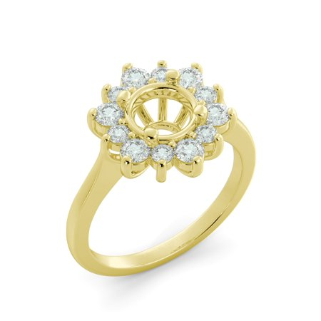 .80 ct Round Cut Natural Diamond Flower Semi Mount Engagement Ring 14k Yellow Gold