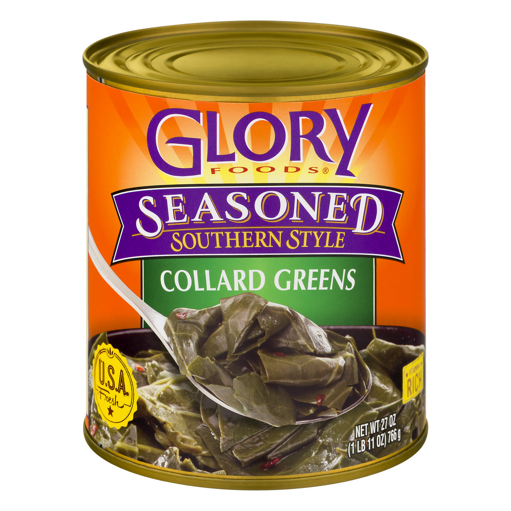Glory Foods Seasoned Southern Style Collard Greens With Onions, Garlic & Spices In A Savory Broth, 27 Oz