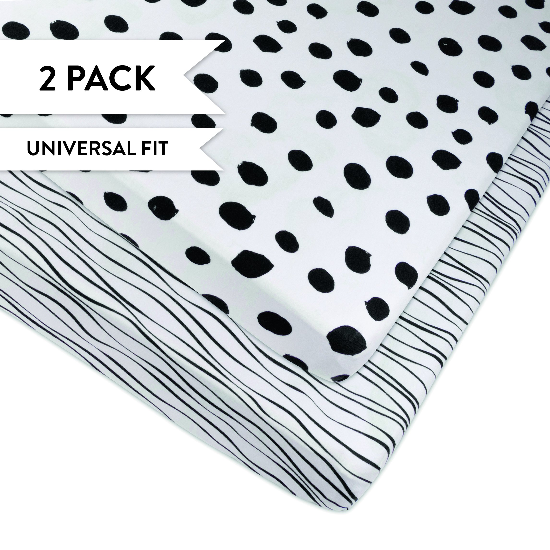 Pack N Play Portable Crib Sheet Set 100% Jersey Cotton 2 Pack - Black Abstract Stripes and Dots