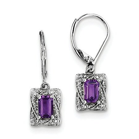 February Birthstone Lever Back Earrings - .925 Sterling Silver Genuine Diamond And Amethyst Dangle Lever Back Earrings (0.03 CTW, I-J Color, I2 Clarity)