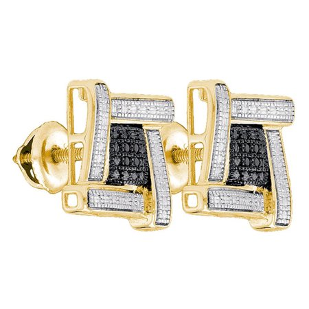 Silver Tone Cluster (Yellow-tone Sterling Silver Mens Round Black Color Enhanced Diamond Square Cluster Earrings .03)