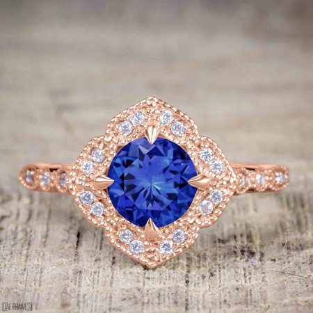 Antique Vintage 1.25 Carat Art Deco Halo Engagement Ring with Sapphire and Diamond for Her in Rose Gold