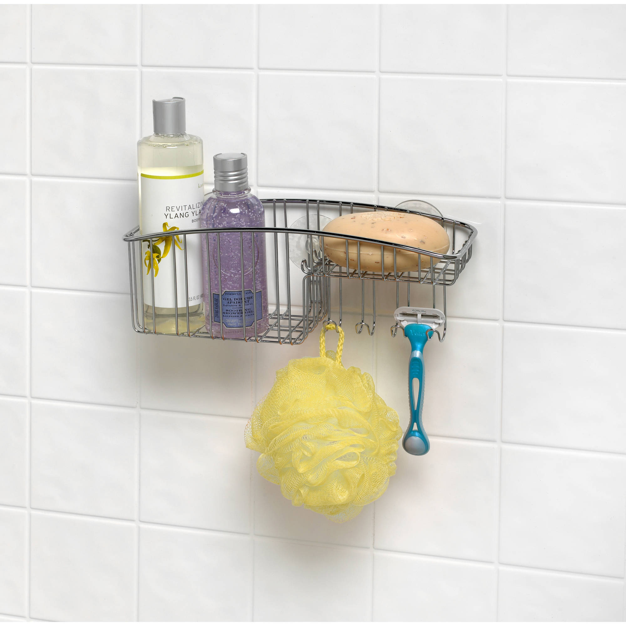 Spectrum Contempo Suction Shower Basket with Hooks, Stainless Steel