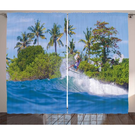 Bali Wave - Ride The Wave Curtains 2 Panels Set, Surfer in Ocean by Bali Island Palm Trees Dreamy Nature Scenery, Window Drapes for Living Room Bedroom, 108W X 108L Inches, Fern Green Violet Blue, by Ambesonne