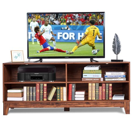 - Gymax 58'' Modern Wood TV Stand Console Storage Entertainment Media Center Living Room