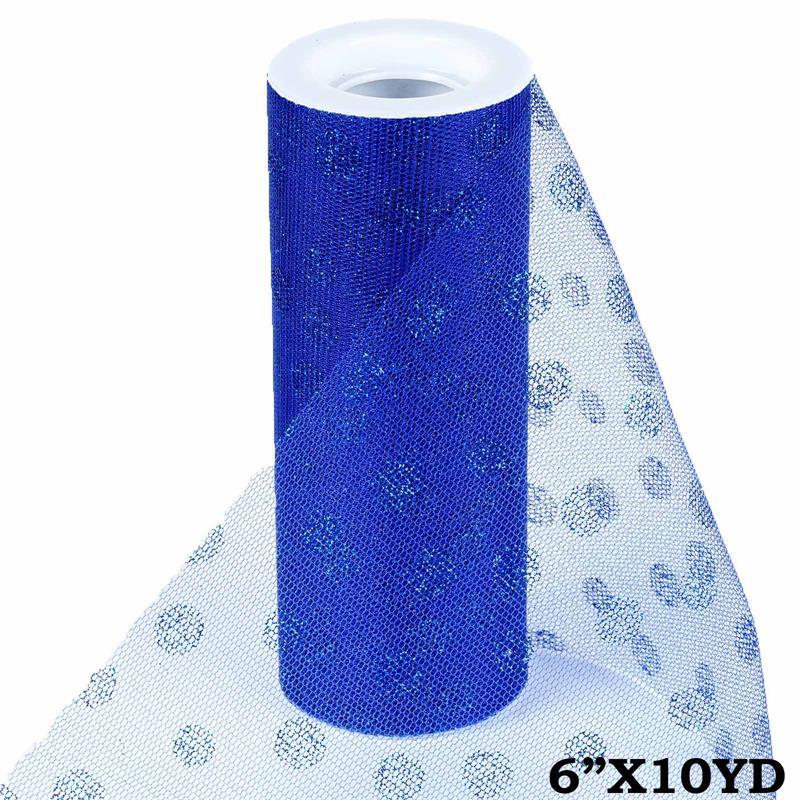 6 inch x 10 yards Glittered Polka Dot Tulle - Royal Blue
