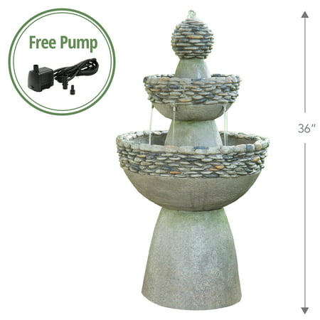 Outdoor Fountains Waterfalls (Peaktop - Outdoor Garden Zen 3-Tier Waterfall Fountain )