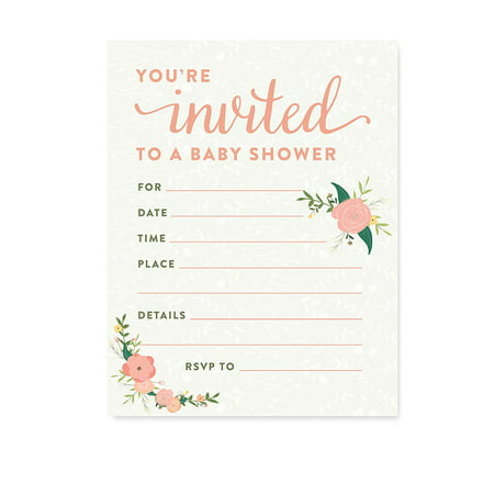 Floral Roses Girl Baby Shower Blank Invitations, 20ct](Pink Camo Baby Shower Invitations)