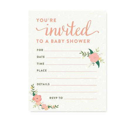 Floral Roses Girl Baby Shower Blank Invitations, 20ct](Sesame Street Baby Shower Invitations)