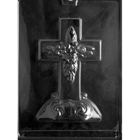 Cybrtrayd R025 Large Cross with Base Chocolate Candy Mold with Exclusive Cybrtrayd Copyrighted Chocolate Molding Instructions plus Optional Candy Packaging Bundles](Candy Cross)