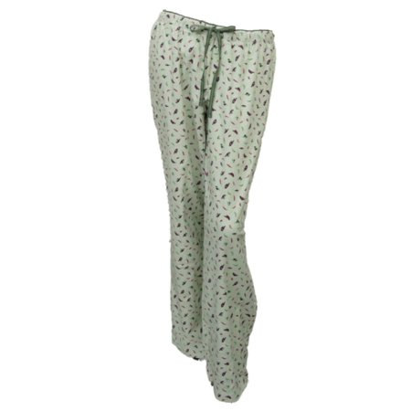 Women Green Bird Print Flannel Sleep Pants Pjs Pajama Bottoms