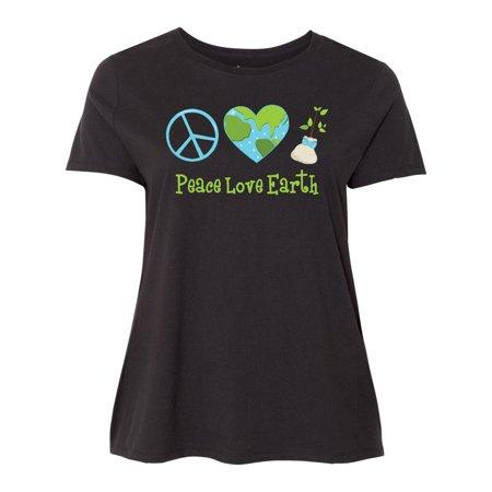Peace Love Earth Women's Plus Size T-Shirt ()