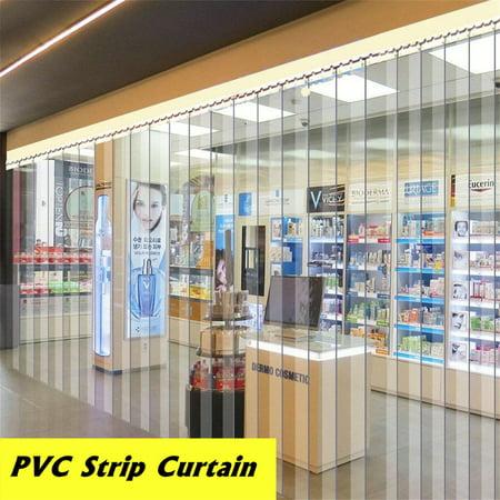 """6 Roll 79""""X7"""" Freezer Room PVC Plastic Strip Curtain Door Strip Kit Hanging Rail"""