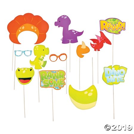 Little Dino Birthday Party Photo Booth Stick Props - Photo Booth Sticks