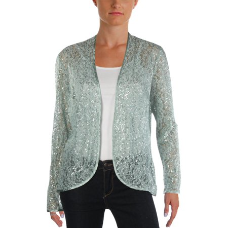 SLNY Womens Lace Sequined Cardigan Top