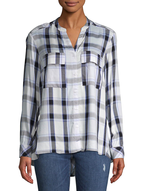 efffd0c1 JONES NEW YORK - Mixed-Media Plaid Button-Down Shirt - Walmart ...