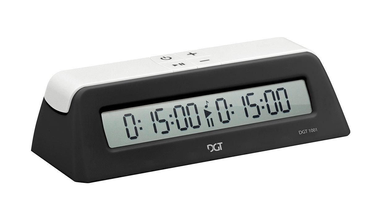 DGT 1001 Black White Chess Game Clock & Timer with Play Chess Instructions by