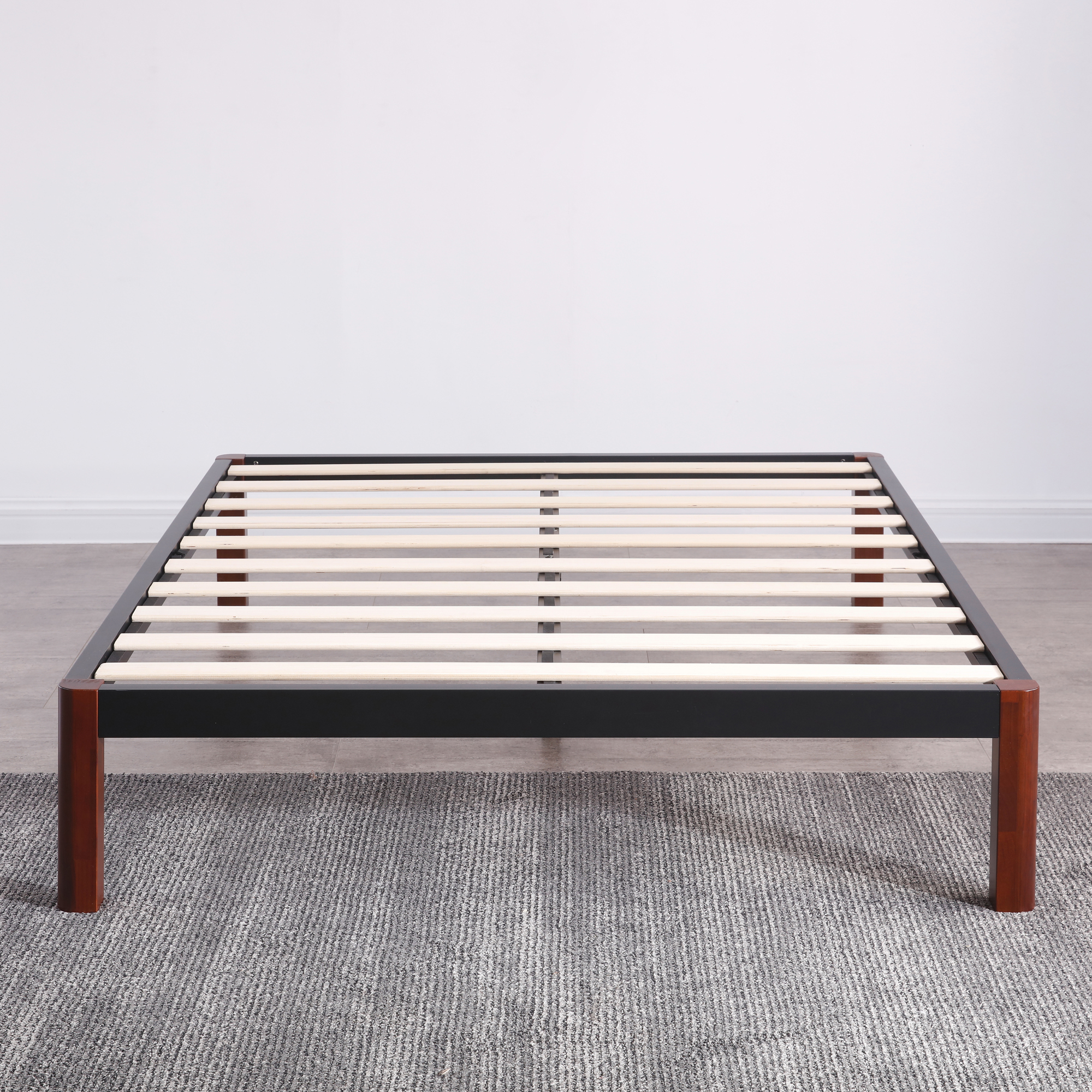 Modern Sleep Devon Wood Slat and Metal Platform Bed Frame | Mattress Foundation, Multiple Sizes