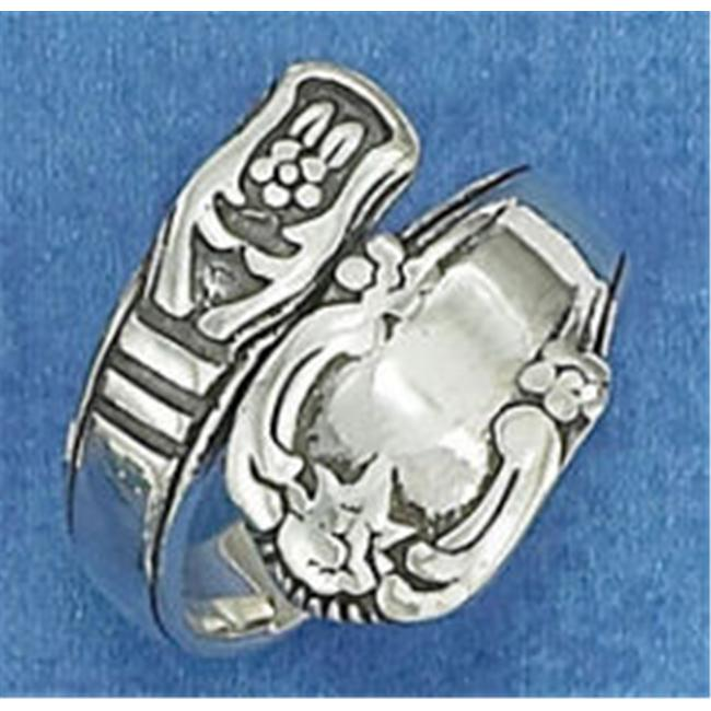 Plum Island Silver SR-2919-07 Sterling Silver Antiqued Spoon Ring with Double Bar Design - Size 7