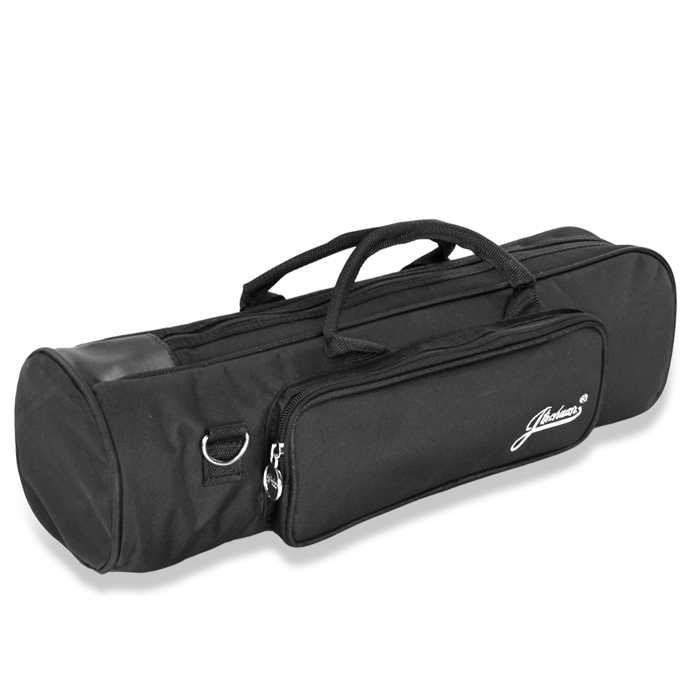 Senior Trumpet Gig Bag Case Durable Soft Nylon Padded Portable Instrument Accessory with Double Zippers and Adjustable Shoulder Strap in Black