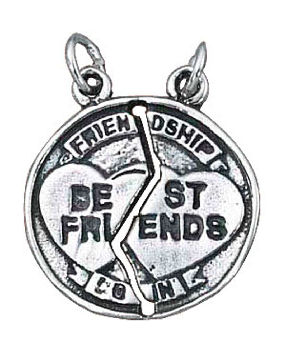Sterling Silver Girls .8mm Box Chain LIL SIS BIG SIS 2 Two Piece Shareable Pendant Necklace