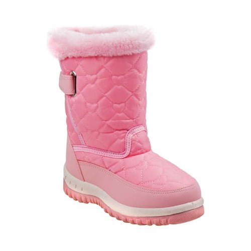 Rugged Bear Heart Shaped Quilted Detail Toddler Girls\u0027 Snow Boots