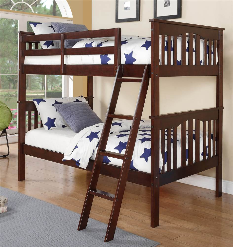 Twin Over Twin Bunk Bed in Walnut