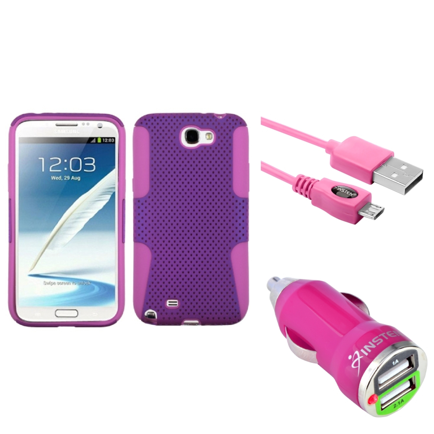 Insten Pink/Purple Hybrid Case 6FT Cable Dual USB Charger For Samsung Galaxy Note 2