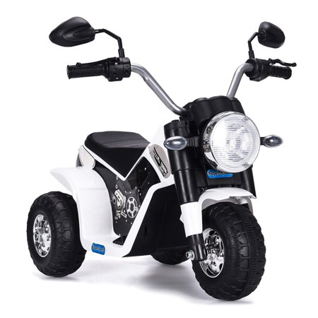 Hommoo Kids Electric Battery-Powered Ride-On Motorcycle Dirt Bike Toy for Kids, 3 Wheeler Gifts White Motorcycle for Children Child Boys