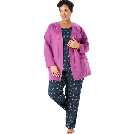 0ee97ba3a8 Only Necessities - Plus Size 3-piece Cotton Pajama Set By Only Necessities  - Walmart.com