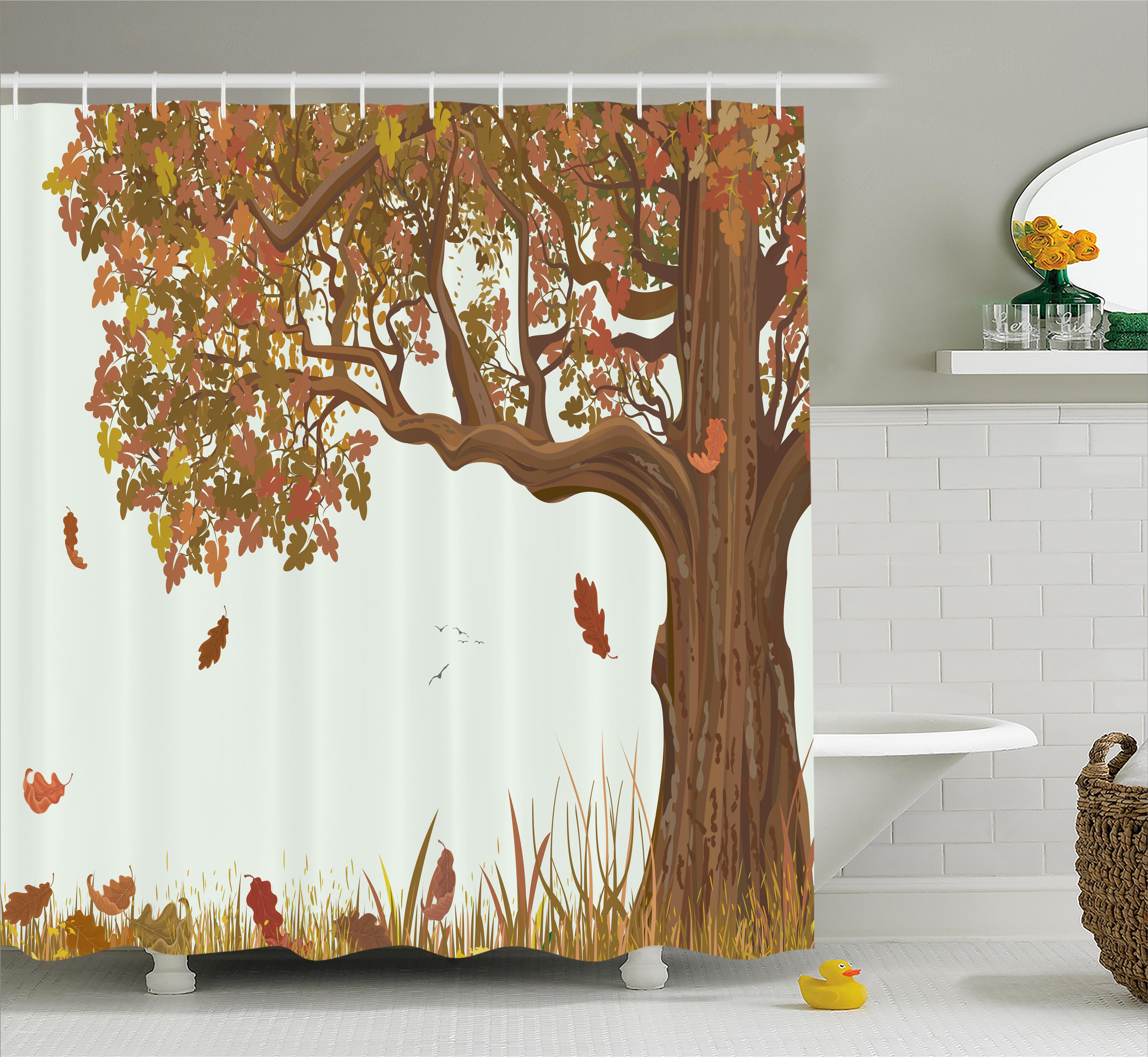 Tree Of Life Shower Curtain, Autumn Season Fall Shady Deciduous Oak Leaves  In Park Countryside