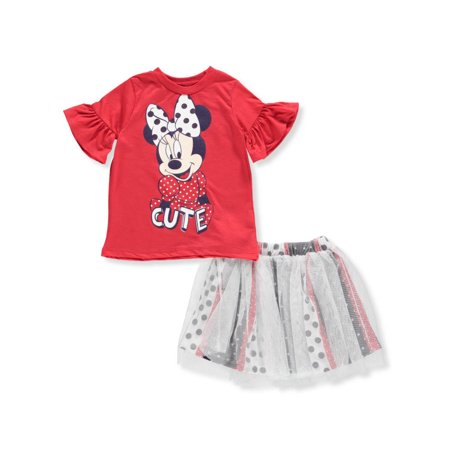 Disney Minnie Mouse Girls' 2-Piece Skirt Set Outfit - Minnie Mouse Outfit For Women